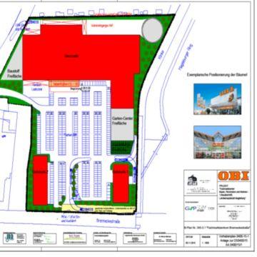 Bild des Vorhabenplans des Fachmarktzentrums brenneckestraße in Magdeburg von Architekt Oliver Schilling