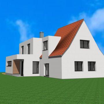 Animation der Planung des modernen Anbaus an ein Sidlungshaus von Architekt Oliver Schilling