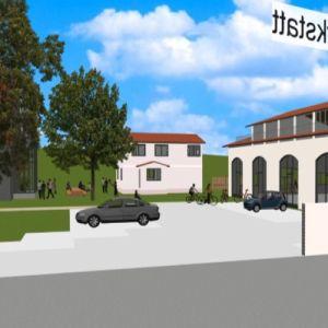 Blick zwischen die Gebäude der Ferienwohnanlage (CAD Animation) von Architekt Oliver Schilling