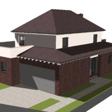 Perspektivaufnahme der CAD Animation des modernen Einfamilienhauses von Architekt Oliver Schilling