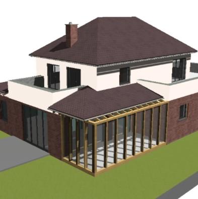 Perspektivaufnahme der Animation des Hauses