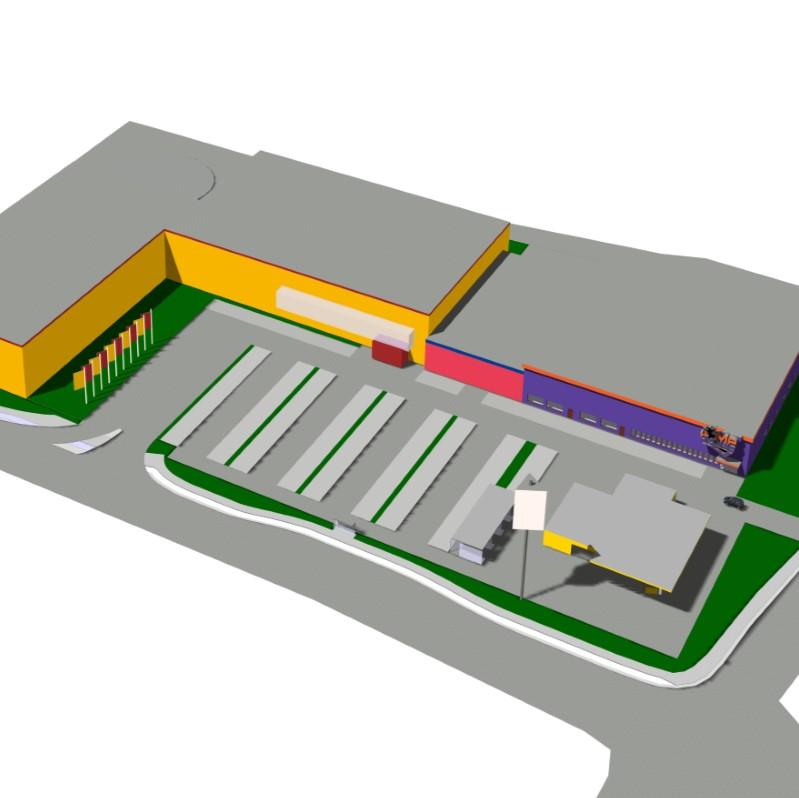 Blick von oben auf Poco, Agip-Tankstelle und das JumpHouse als CAD Animation von Architekt Oliver Schilling