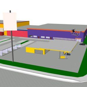 Blick auf die Agip-Tankstelle und das JumpHouse als CAD Animation von Oliver Schilling