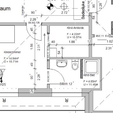 Grundrisszeichnung (Ausschnitt) von Architekt Oliver Schilling