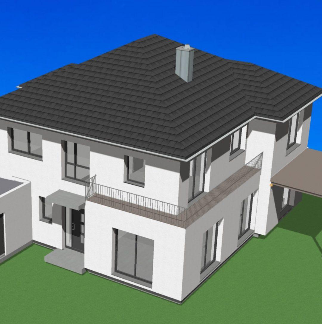 Blick auf die Stadtvilla als CAD Animation von Architekt Oliver Schilling
