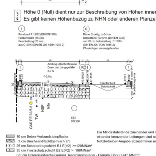 Schnittzeichnung einer zu bauenden Straße mit Leitungstrassen von Architekt Oliver Schilling