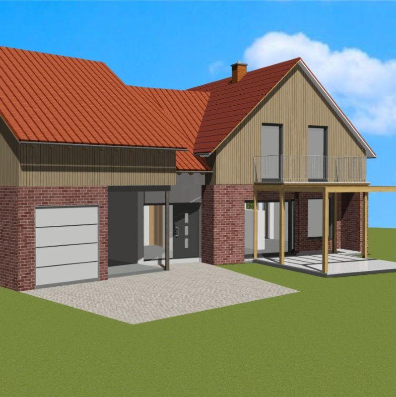 Blick auf das dörfliche Einfamilienhaus als CAD Animation von Architekt Oliver Schilling